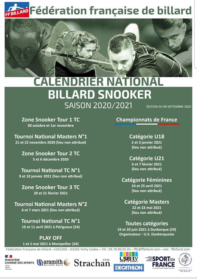 Calendrier Snooker 2021 Téléchargements   Ligue de Billard du Nord Pas de Calais